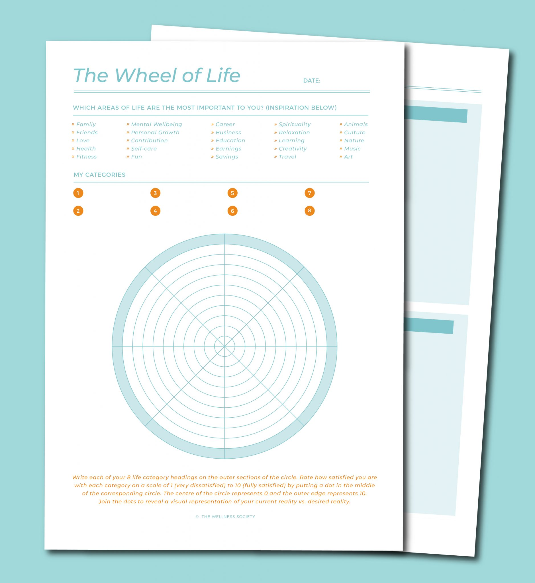 Wheel of Life Worksheets