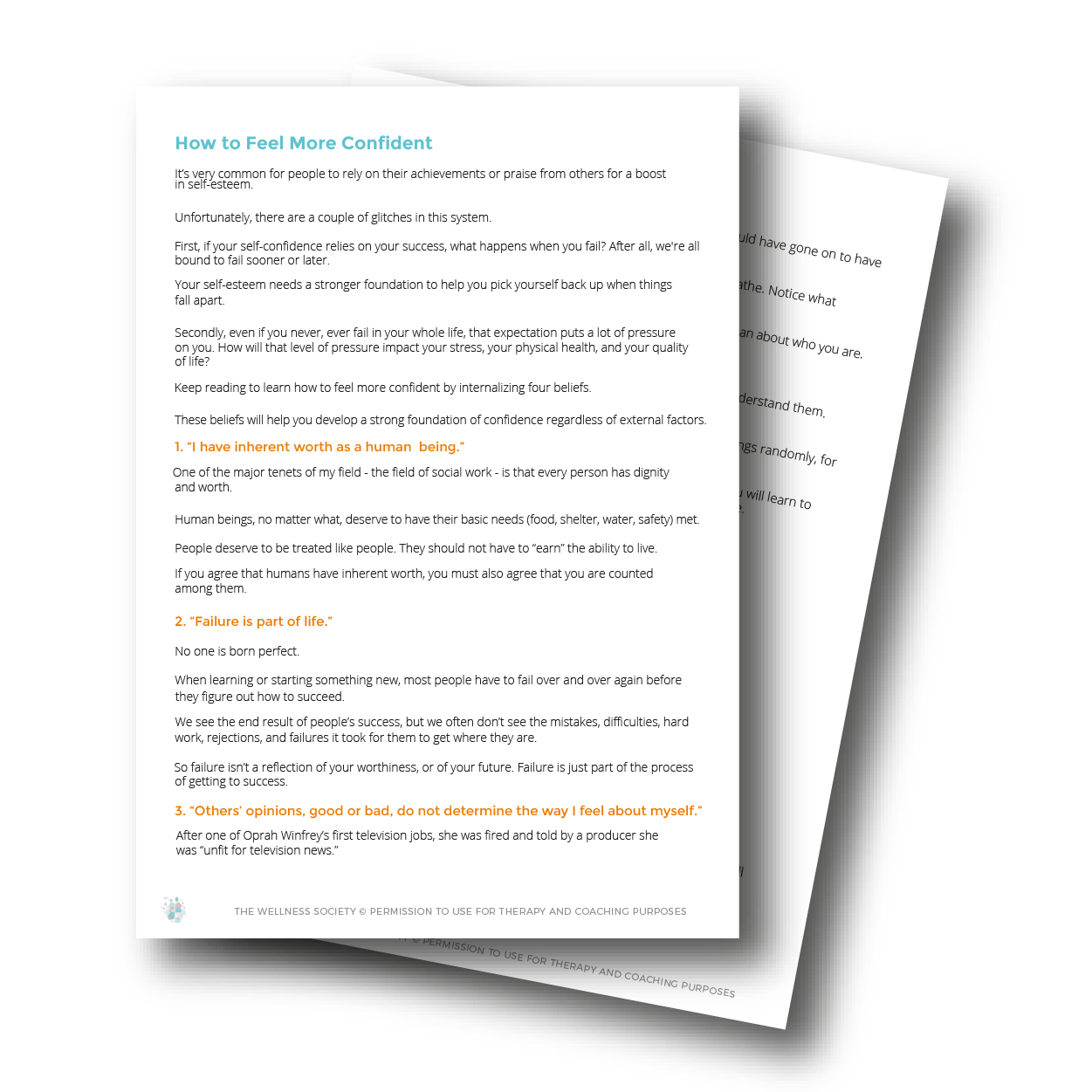 confidence worksheets